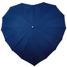 Navy Blue Heart Wedding Umbrella