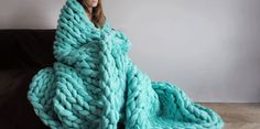 This Woman Knits Blankets with Super-Sized Yarn and Her Bare Hands