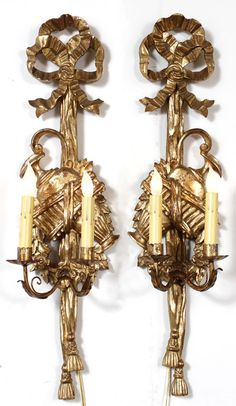 Pair Antique Italian Neoclassical Giltwood Sconces | Antique Wall Sconces | Inessa Stewart's Antiques