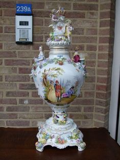 A huge elegant German porcelain vase in 3 pieces from Discover more beautiful items from Johan Doomen's collection, a professional Belgian antique dealer, on Transferantique. Porcelain Vase, 3 Piece, German, Elegant, Antiques, Beautiful, Collection, Things To Sell, Deutsch