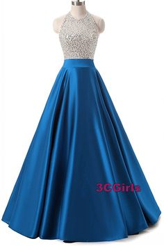 Blue satin sequins prom dress, ball gown, long dress for prom 2017