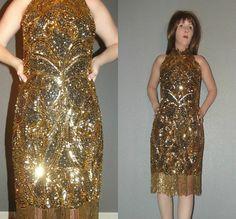 bde0ce02 Vtg 80s Oleg Cassini Black Tie Gold Beaded Fringe Flapper Sequin Avant  Garde Trophy Glam Cocktail Evening Dress