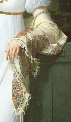 detail from portrait of felicite-louise-julie-constance de durfort | merry-joseph blondel, french | 1813 (neoclassic)