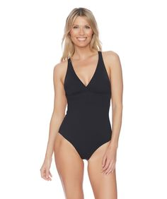 0450a21c8a Our signature slimming one piece bathing suits have you covered! The Athena  Solid Criss Cross