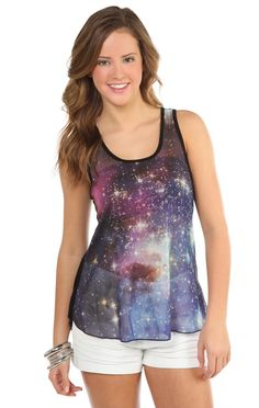 Deb Shops chiffon tank #top with #galaxy print front and knit back