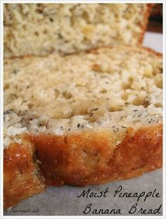 This Banana Bread Takes a Bit of a Tropical Twist With Crushed Pineapple and Coconut! This Banana Bread Takes a Bit of a Tropical Twist With Crushed Pineapple and Coconut! Just Desserts, Delicious Desserts, Dessert Recipes, Yummy Food, Pineapple Banana Bread Recipe, Banana Bread Recipes, Pineapple Coconut, Banana Coconut, Coconut Oil