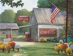 "Take a trip to this quant country store in ""Coca-Cola Country General Store,"" our 500 piece puzzle. This beatifully painted puzzle is filled with vibrant flowers and a scenic view. Completed puzzle is x Coca Cola Store, Jim Harrison, Flowers For Sale, Old Country Stores, Old General Stores, Country Art, Country Life, Country Living, Old Barns"