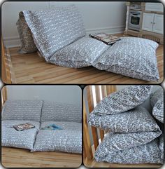 DIY Pillow Bed: Fold a twin sheet in half long ways, then sew sections the size of a pillow case, next insert pillows leaving ends open to remove pillows and wash. Or sew pillowcases together, or 3 yds fabric and 4 pillows Diy Pillows, Floor Pillows, Cushions, Sewing Pillows, Pillow Mattress, Couture Sewing, Sewing Projects, Room Decor, Interior Design