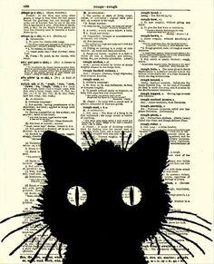 Dictionary Art Print, Cat Silhouette, Antique Dictionary Page, Halloween Decor, Cat Art via Etsy #CatSilhouette