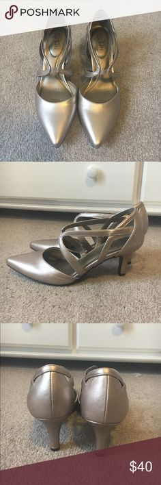 Rose gold heels. LIKE NEW. WORN ONCE. Worn once, in brand new excellent condition no flaws rose gold shoes. Heels about 2 inches. Worn only for a few hours for a wedding. Life Stride Shoes Heels