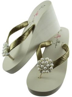 d0abdf857a04ac Customizable Ivory High 35 inch Wedding Wedge Flip Flops for the Bride with  Pearl Embellishment     Find out more about the great product at the image  link.