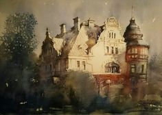 Jacek Jaroszewski- Lodz, willa Reinholda Richtera, watercolour 36x52cm, 2016