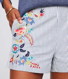 Floral Embroidered Riviera Shorts with 3 Inch Inseam