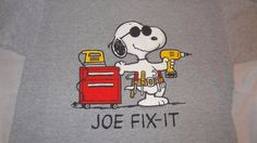 Peanuts Snoopy Joe Fix-It Gray T-Shirt Size Large Men's Tools Handyman in Clothing, Shoes & Accessories, Men's Clothing, T-Shirts | eBay