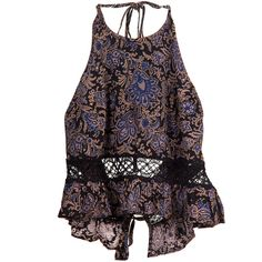 Floral Crochet Inset Double Tie Halter (€25) ❤ liked on Polyvore featuring tops, tank tops, flower print tops, macrame top, floral print tops, floral tops and halter-neck tops