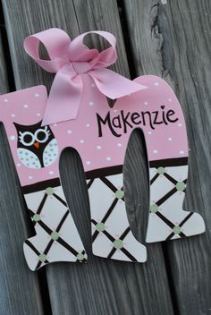 OWL WHIMSY  Handpainted Letter Set by TheJellyBeanJunction on Etsy, $16.99