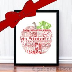 Custom Teacher Print - Apple Typography Teacher Gift - Retirement Gift - Personalized Poster