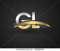 GL initial logo company name colored gold and silver swoosh design. vector logo for business and company identity.