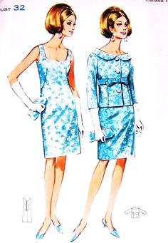 1960s STUNNING Evening Dress and Jacket Pattern BUTTERICK 4342 Scoop Neckline Dress Lovely Wide Shaped Collar Jacket Perfect Cocktail Party Ensemble Bust 32 Vintage Sewing Pattern FACTORY FOLDED