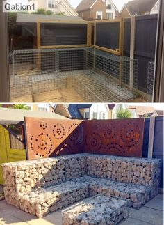 Easy to Install kitset gabion seats Garden Wall Designs, Backyard Patio Designs, Backyard Landscaping, Gabion Fence, Gabion Wall, Fencing, Fire Pit Seating, Outdoor Seating, Seating Areas