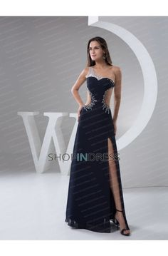 b490c1e9dc A-line Chiffon One Shoulder Natural Waist Sexy Prom Dress picture 1