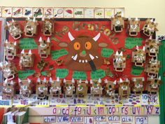The Gruffalo Display. Looking forward to making our own gruffalo! Gruffalo Eyfs, Gruffalo Activities, Eyfs Activities, Nursery Activities, The Gruffalo, Book Activities, Autumn Activities, Teaching Displays, Class Displays