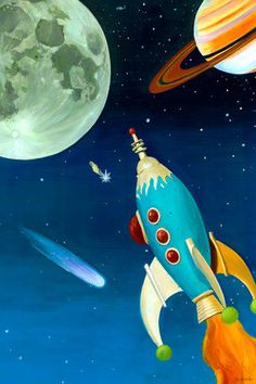 Retro Rocket by Oopsy daisy - Oopsy daisy stretched canvas art is printed to order using the best digital reproduction method available. Each piece of kids' canvas art has amazing clarity an Art Wall Kids, Canvas Wall Art, Art For Kids, Pop Art, Retro Rocket, Ligne Claire, Science Fiction Art, Art Deco, Retro Futurism