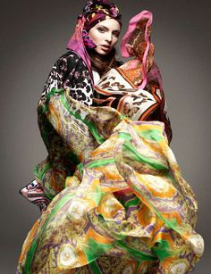 Scarf-Exploding Styles - The Vogue Germany January 2012 Editorial Stars the Colorful Carola Remer (GALLERY)