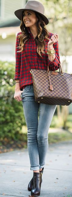 Black Booties Red Plaid Gray Jeans Fall Inspo #Sequins