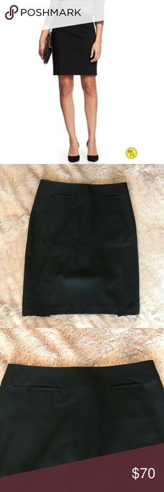 Banana Republic Black Pencil Skirt Worn once for an interview, but unfortunately it doesn't fit me anymore! In perfect condition. 4P, but I️'m 5'3 and I️t falls just at/below my knee (i.e. not too short!) No damage or signs of wear Banana Republic Skirts Pencil