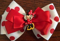 Items similar to Minnie Mouse - Mickey Mouse ribbon hair bow - Minnie Mickey themed birthday party - red - white - black - DISNEY - birthday -accessory on Etsy Birthday Accessories, Hair Accessories, Headband Tutorial, Ribbon Hair Bows, Ribbon Crafts, Hairbows, Beanie Hats, Birthday Party Themes, Disneyland