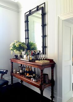 not a bar cart, well maybe cuz there are wheels, but bar cart made from double console or sofa table, genius