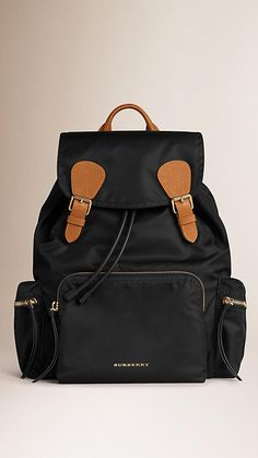 Black The Rucksack in Technical Nylon and Leather - Image 1