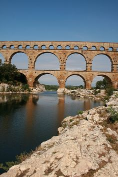 Built in the 1st century AD, Pont du Gard is an ancient Roman aqueduct bridge that crosses the Gardon River in France. | UNESCO World Heritage Site