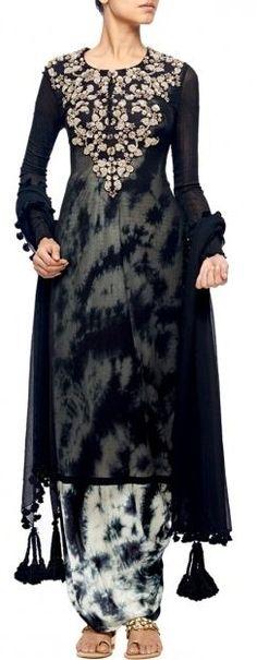 e111882002 NUPUR KANOI Black embroidered kurta with tie and dye jumpsuit · Salwar   dressPunjabi ...