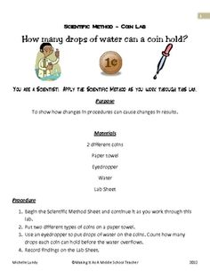 FREEBIE:  Scientific Method ~ Coin LabHow many drops of water can a coin hold?You are a Scientist!  Apply the Scientific Method as you work throu...