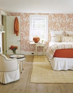 Guest bedroom ideas... plywood floors  Love this whole room, beautiful...