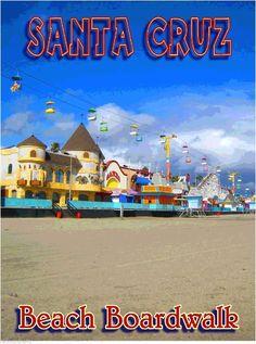 Santa Cruz Beach Boardwalk California United States Travel Advertisement Poster