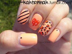 Orange With Hearts Cheeatah And Stripes
