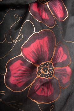Elegant Hand Painted Silk Scarf with Red Poppies by LigaKandele