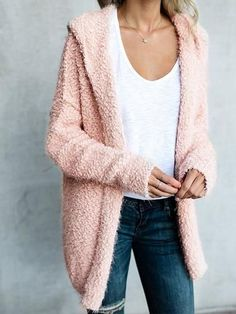 Chicnico Simple Open Collar Solid Color Fluffy Cardigan