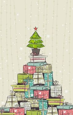 iPhone 5 Wallpaper - Christmas Presents Illustration