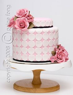 Shabby Chic pink cake with polka dots and roses http://www.flickr.com/photos/paigefong/4193348522/in/faves-montrealcookies/
