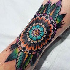 Early morning tattoo. Thanks Lisa, was a pleasure. Enjoy your parisian trip! See you next time. #tattoo #tatouage #coloredasfuck #boldcleansolid #23keller #paris #mandala #oldschooltattoo #traditionaltattoo #tradtattoo #radtrad #tattoosnob #skinartmag