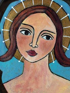 Original Folk art Angel Tell the Truth Painting by lindakellyart, $85.00