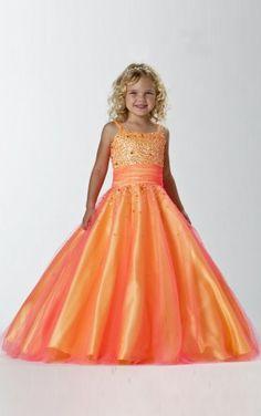 Nice Ball Gown Floor-length Straps Orange Chiffon Dress