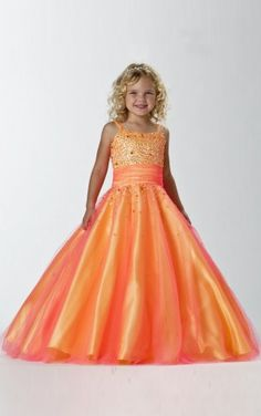 Nice Ball Gown Floor-length Straps Orange Chiffon Dress