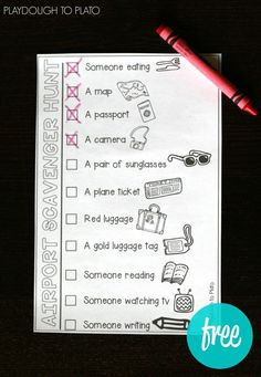 FREE Airport Scavenger Hunt for Kids. Such an easy, fun activity to entertain the kids when we're traveling. Love this free printable!