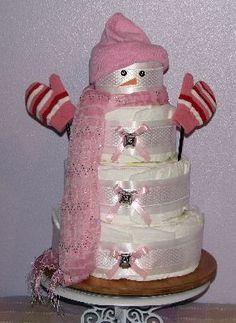 http://babylovediapercakes.com/Baby_Girl_Diaper_Cakes/Snowman/slides/Snowman-Diaper-Cake.JPG