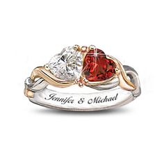 Two Hearts One Love Personalized Ring.   Sparkling white topaz and brilliant garnet come together in an exclusive solid sterling silver ring with 24K-gold accents and 2 engraved names.